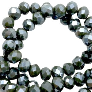 Facet glaskraal  covert green-pearl high shine coating 4x3mm