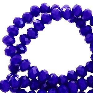 Facet glaskraal Dazzling blue-pearl shine coating 4x3mm