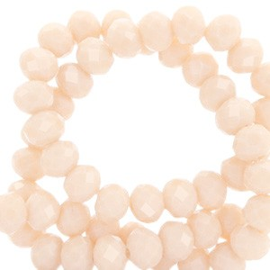 Facet glaskraal Delicacy peach beige-pearl shine coating 6x4mm