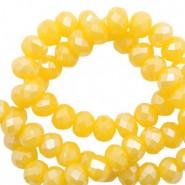 Facet glaskraal freesia yellow opal-pearl shine coating 4x3mm