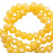 Facet glaskraal freesia yellow opal-pearl shine coating 6x4mm