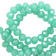 Facet glaskraal light emerald green-pearl shine coating 6x4mm