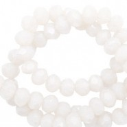 Facet glaskraal soft white-pearl shine coating 6x4mm