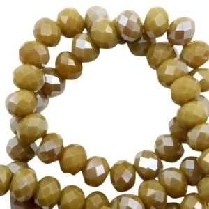 Facet glaskraal spicy mustard green half pearl (high shine coating) 6x4mm