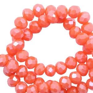 Facet glaskraal Tigerlily coral red-pearl shine coating 6x4mm