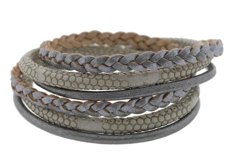 FRIS! Basic wrap leren armband grijs / zilver