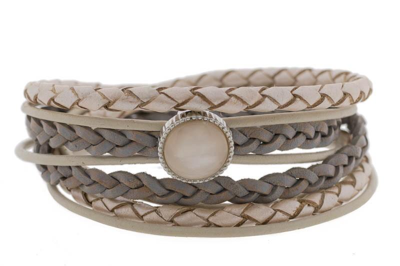 FRIS! Leren braided wrap armband Polaris vintage roze zilver
