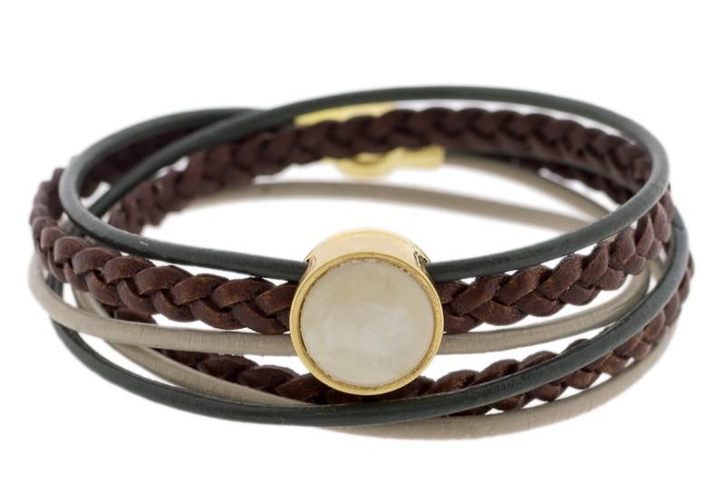 FRIS! Leren wrap Polaris armband groen bruin goud
