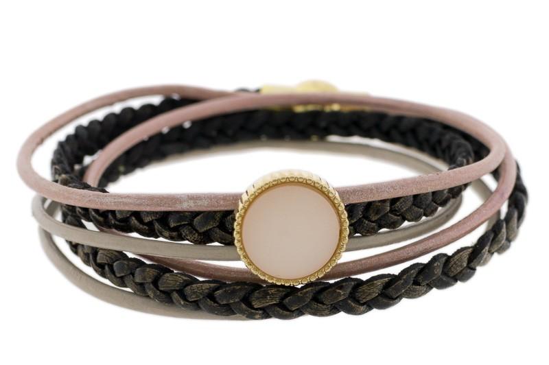 FRIS! Leren wrap Polaris armband roze goud
