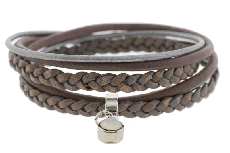 FRIS! Wikkelarmband braided grijs taupe