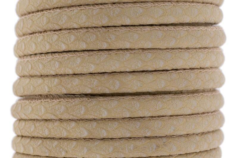 Gestikt DQ leer 4mm beige reptiel per 20cm