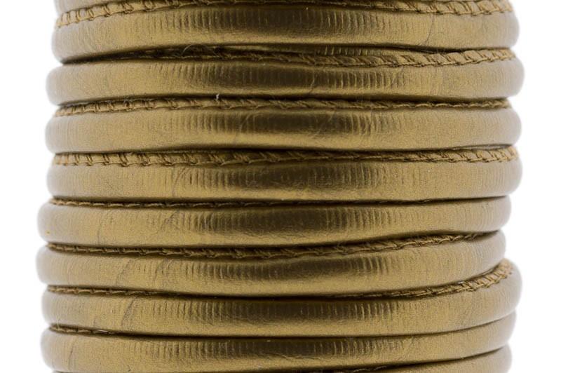 Gestikt DQ leer 4mm brons metallic per 20cm