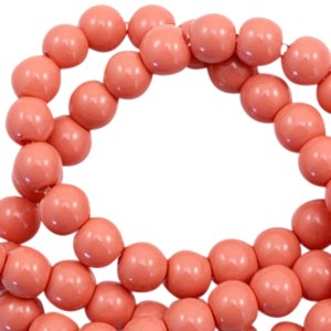 Glaskraal rond 6mm opaque coral rose peach