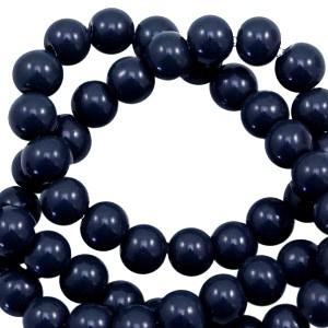 Glaskraal rond 6mm opaque dark blue