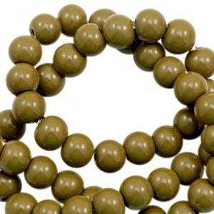Glaskraal rond 6mm opaque dark olive green