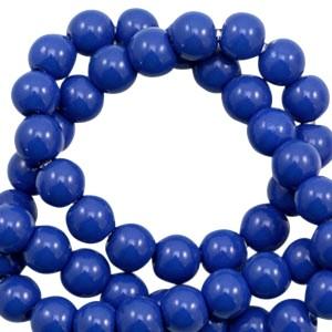 Glaskraal rond 6mm opaque dazzling blue