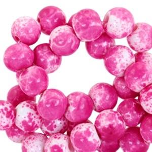 Glaskraal rond gemêleerd 6mm white hot pink