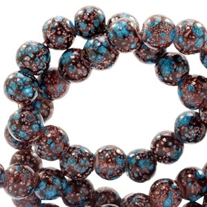 Glaskraal rond stone look 6mm dark brown turquoise