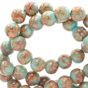 Glaskraal rond stone look 6mm turquoise brown