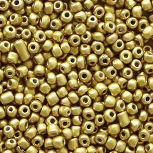 Glaskralen rocailles 12/0 2mm rond 8 gram metallic antique gold