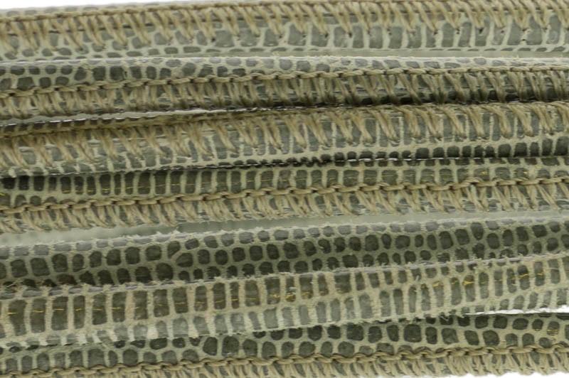 High Quality gestikt leer rond 4mm met print lizard olive per 20cm