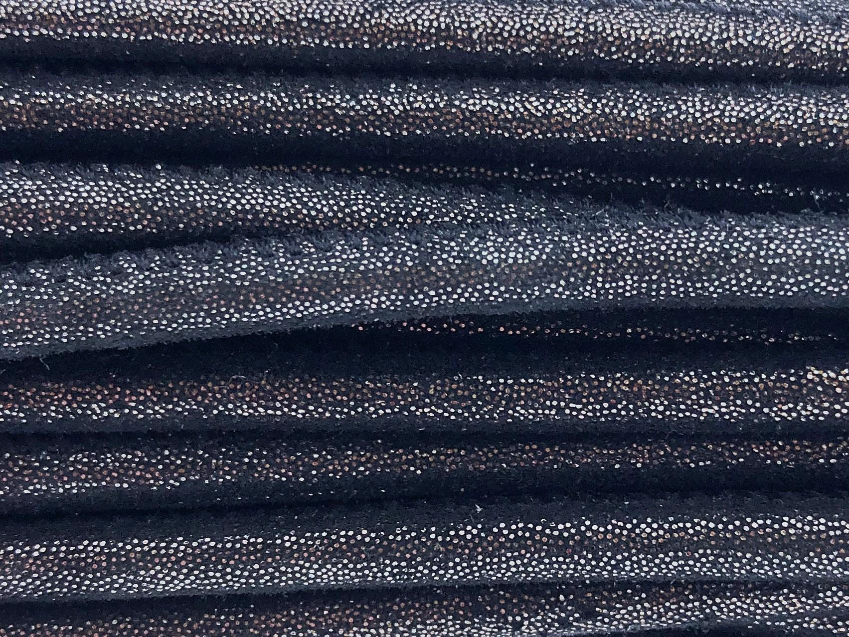 High Quality gestikt leer rond 4mm met print multidot black per 20cm