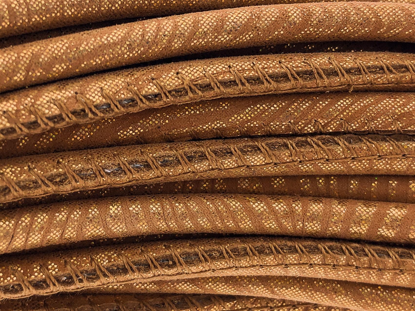 High Quality gestikt leer rond 4mm met print snake style gold orange 20cm