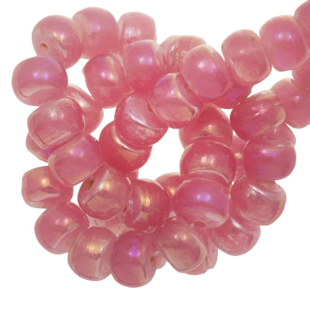 Holografische glaskraal donut 8x5mm pink