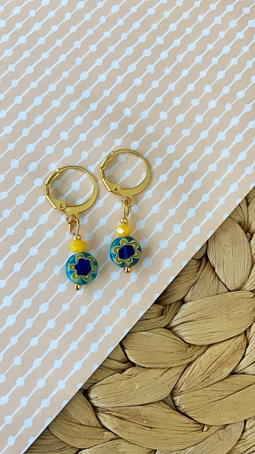 diy-pakket-millefiori-oorbellen-blauw-groen