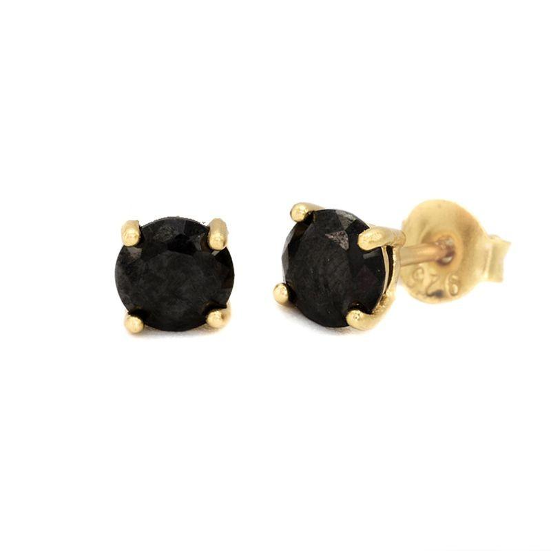 Karma black zirconia earstuds 3-4-5-6-7MM 925 sterling zilver goldplated (per paar)