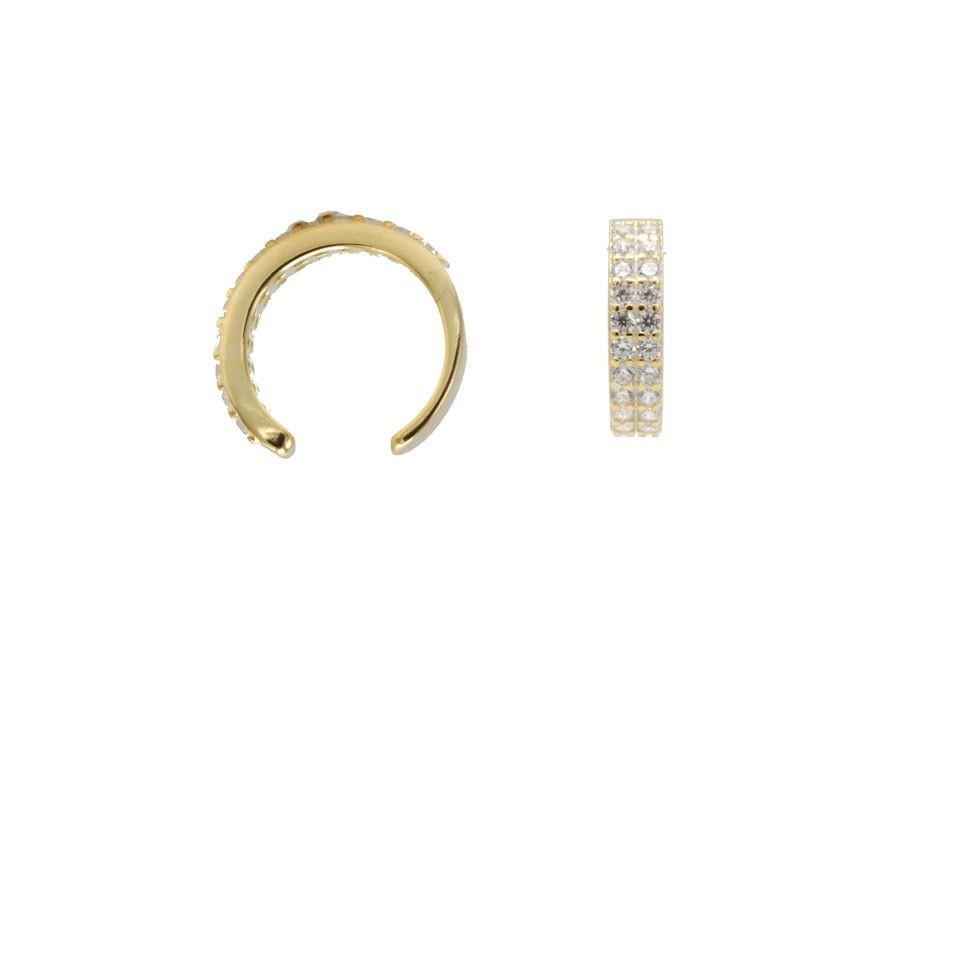 Karma earcuff double zirconia 925 Sterling Silver goldplated (1piece)