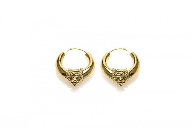 Karma oorbellen bali hoops goldplated 16mm (per paar)