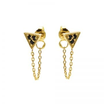 Karma oorbellen chain triple triangle black zirconia goud