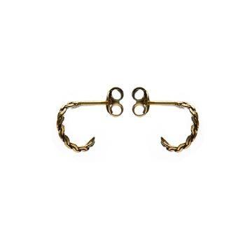 Karma oorbellen knopje symbols braided half hoop goud (per paar)