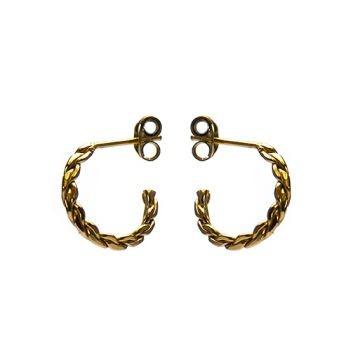Karma oorbellen knopje symbols XL braided half hoop goud (per paar)