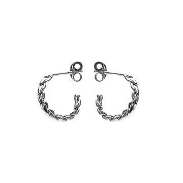 Karma oorbellen knopje symbols XL braided half hoop zilver (per paar)