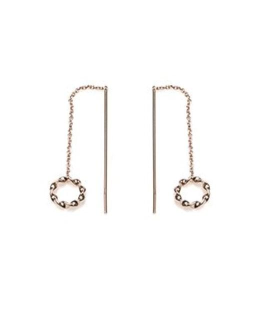 Karma oorbellen symbols pull through open circle loose twisted rosé (per paar)