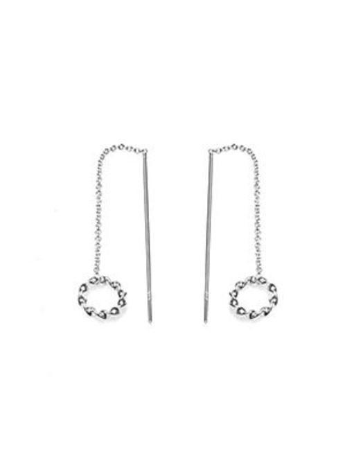 Karma oorbellen symbols pull through open circle triple zilver (per paar)