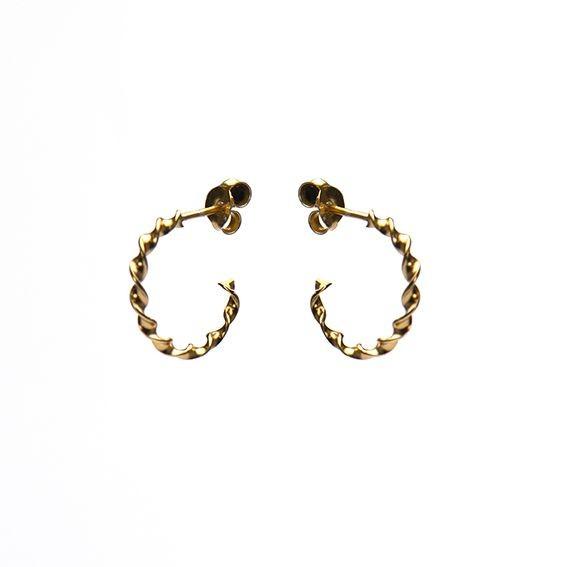 Karma oorbellen twisted loose hoops goldplated 925 sterling silver 15mm (per paar)
