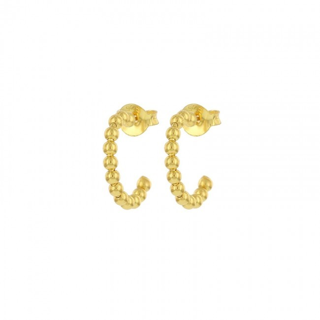Karma symbols half hoop dots goldplated 12mm (per paar)