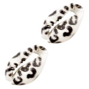 Kauri schelp ca. 17x12mm leopard black white