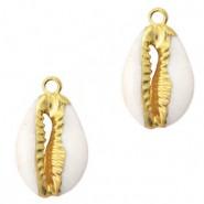 Kauri schelp hanger ca. 17x12mm cream beige gold