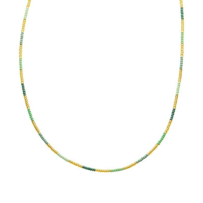 Ketting kralen Biba kleurenmix groen goudkleurig