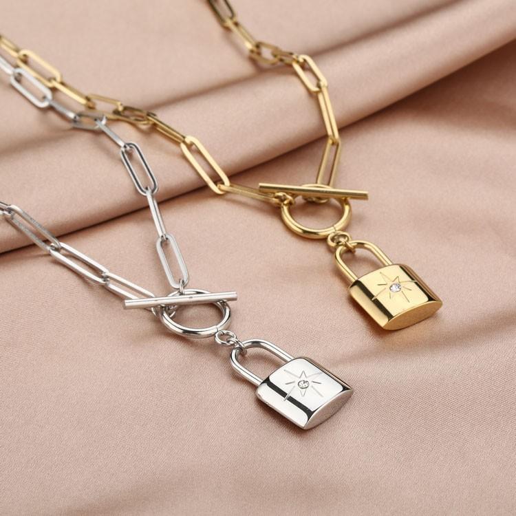 Ketting met kapittelslot en morning star slot charm zilver goud stainless steel 45cm