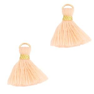 Kwastje (stof) met oog ibiza style 1.5cm seashell pink goud