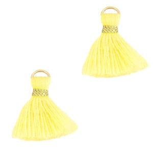 Kwastje (stof) met oog ibiza style 1.5cm sunshine yellow goud