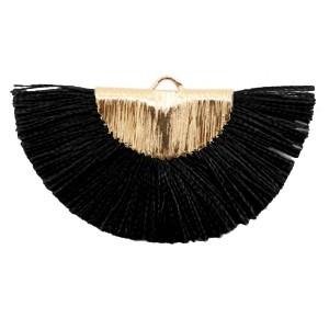 Kwastjes hanger (stof) gold black 46x25mm