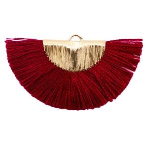 Kwastjes hanger (stof) gold port red 46x25mm
