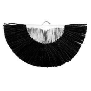 Kwastjes hanger (stof) silver black 46x25mm