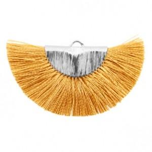 Kwastjes hanger (stof) silver honey brown 46x25mm